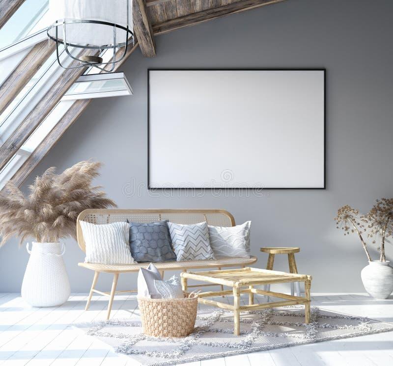 Scheinbarer hoher Plakatrahmen im Hauptinnenhintergrund, skandinavisches böhmisches Artwohnzimmer im Dachboden vektor abbildung