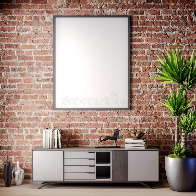 Scheinbarer hoher Plakatrahmen im Innenraum mit Backsteinmauer, Dachbodenart, Illustration 3D lizenzfreie abbildung