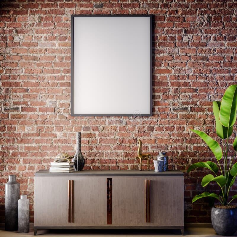Scheinbarer hoher Plakatrahmen im Innenraum mit Backsteinmauer, Dachbodenart, Illustration 3D lizenzfreies stockbild