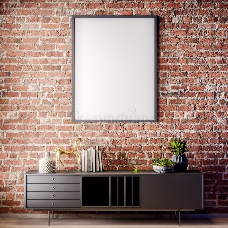 Scheinbarer hoher Plakatrahmen im Innenraum mit Backsteinmauer, Dachbodenart, Illustration 3D lizenzfreies stockfoto