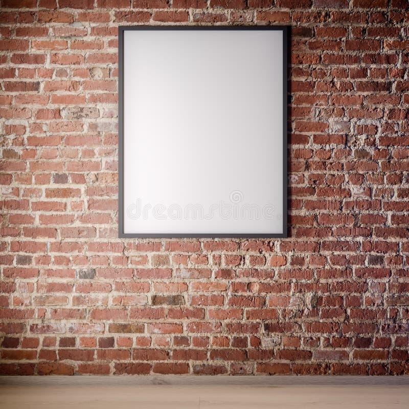 Scheinbarer hoher Plakatrahmen im Innenraum mit Backsteinmauer, Dachbodenart, Illustration 3D lizenzfreie stockfotos