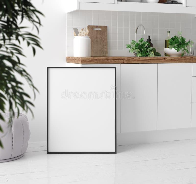 Scheinbarer hoher Plakatrahmen im Kücheninnenhintergrund, skandinavische Art lizenzfreie abbildung