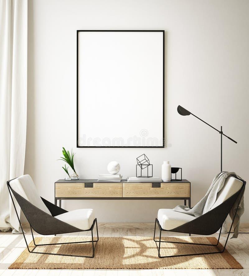 Scheinbarer hoher Plakatrahmen im modernen Innenhintergrund, Wohnzimmer, skandinavische Art, 3D ?bertragen, Illustration 3D stock abbildung