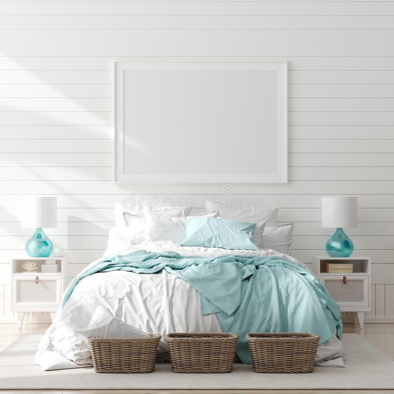 Scheinbarer hoher Rahmen im Schlafzimmerinnenraum, Marineraum mit Seedekor und M?bel, K?stenart lizenzfreie abbildung