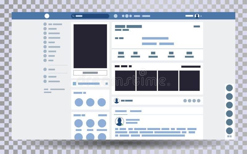 Scheinbarer hoher Webseitenbrowser, Konzept Sozialseite Schnittstelle auf dem Laptop stock abbildung