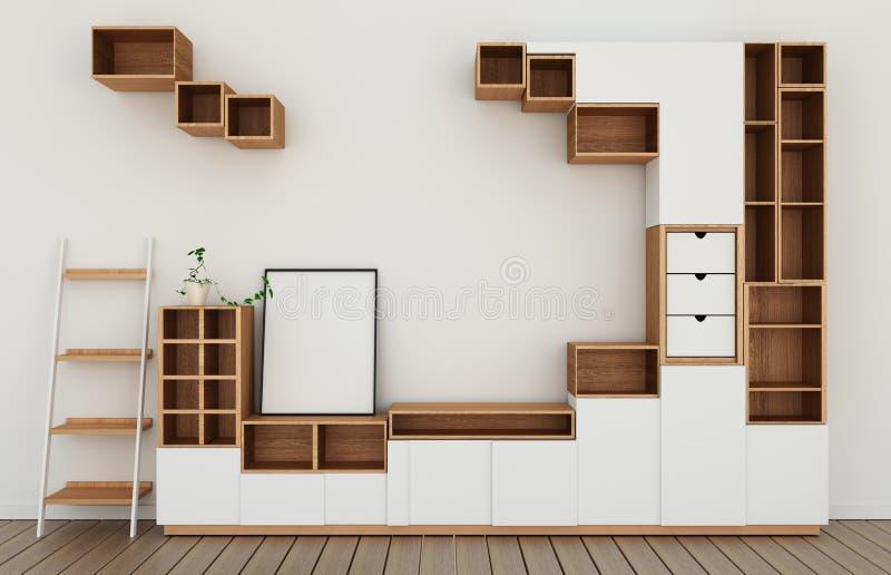 Scheinbares hohes Kabinettentwurfsmodell im modernen leeren Raum, weißer Boden hölzern auf japanischer Art des weißen Wandraumes  vektor abbildung