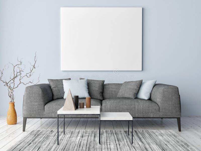 Scheinbares hohes Plakat auf Hippie-Hintergrund, blauer Wand, Dekoration und Sofa, stockfotografie