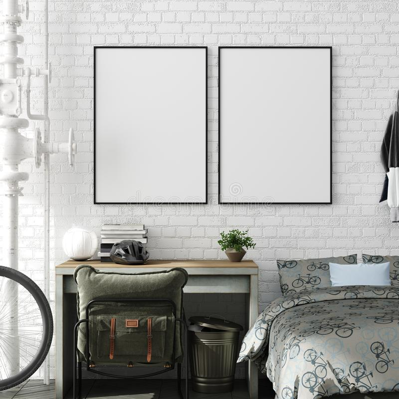 Scheinbares hohes Plakat im Jungenjugendschlafzimmer-Innenhintergrund, industrielle Art stockbild