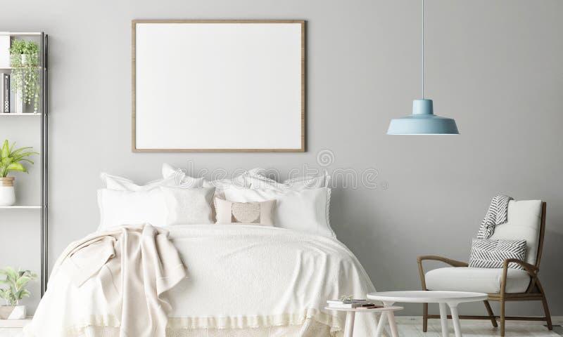 Scheinbares hohes Plakat im Schlafzimmer, skandinavische Dekoration stockfoto