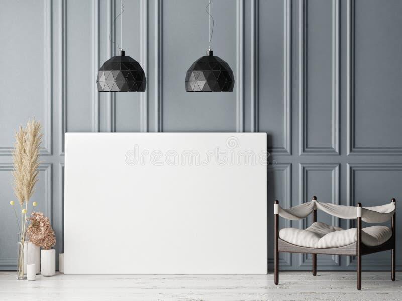 Scheinbares hohes Plakat im skandinavischen Hippie-Wohnzimmerhintergrund lizenzfreie abbildung