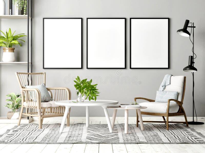 Scheinbares hohes Plakat im skandinavischen Wohnzimmer mit Dekoration stockbilder