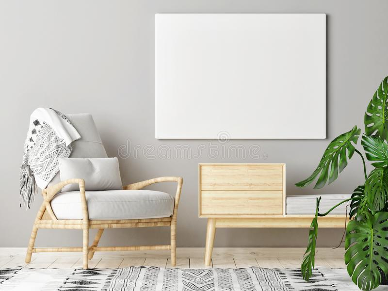 Scheinbares hohes Plakat im skandinavischen Wohnzimmer mit Dekoration lizenzfreie stockbilder