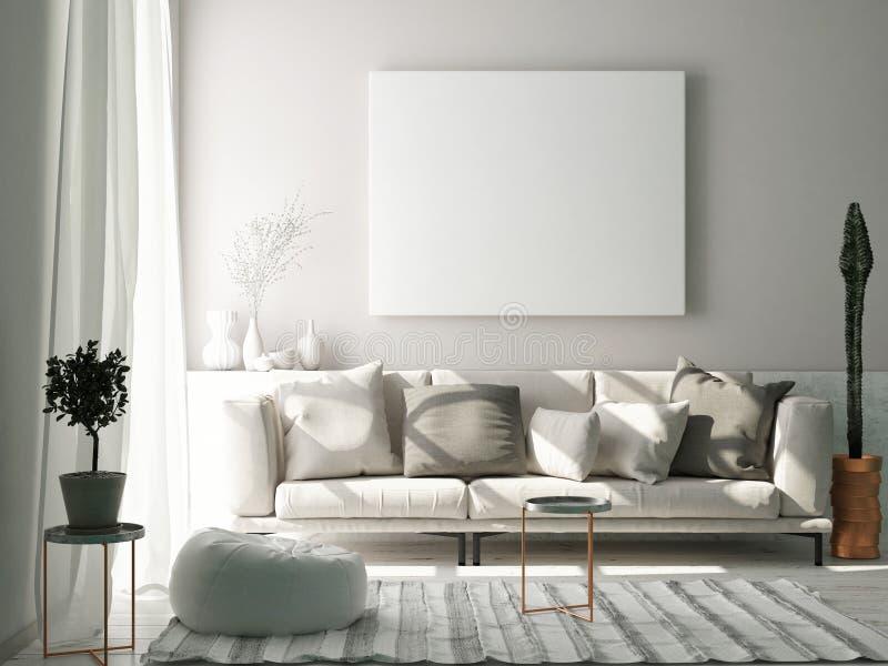 Scheinbares hohes Plakat im skandinavischen Wohnzimmerkonzept, vektor abbildung