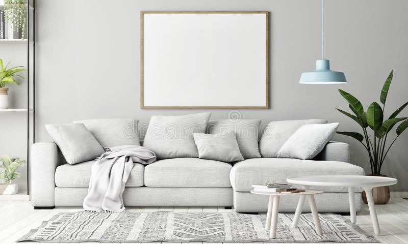 Scheinbares hohes Plakat im Wohnzimmer, skandinavische Dekoration, stockbild