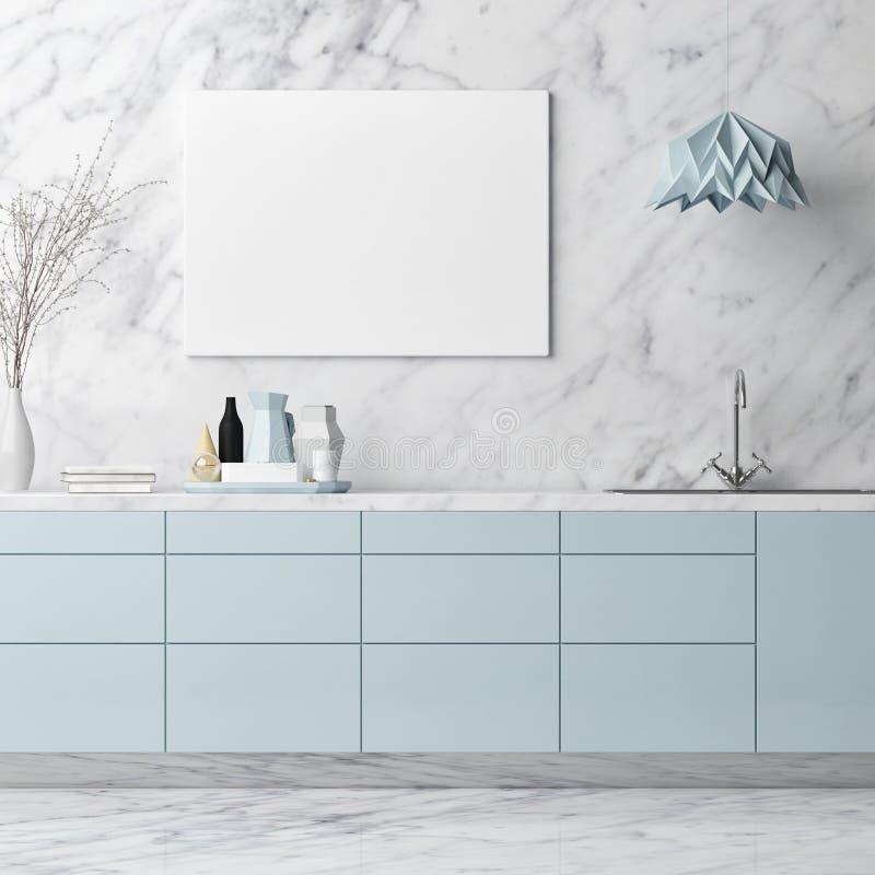 Scheinbares hohes Plakat, Küchenmaterial auf weißer Marmorwand, stock abbildung