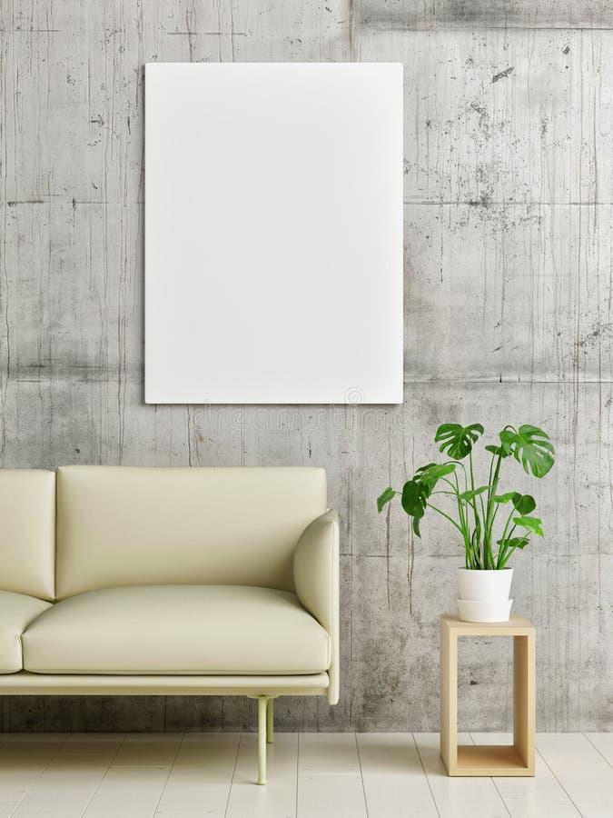Scheinbares hohes Plakat, skandinavisches Wohnzimmer lizenzfreie stockbilder