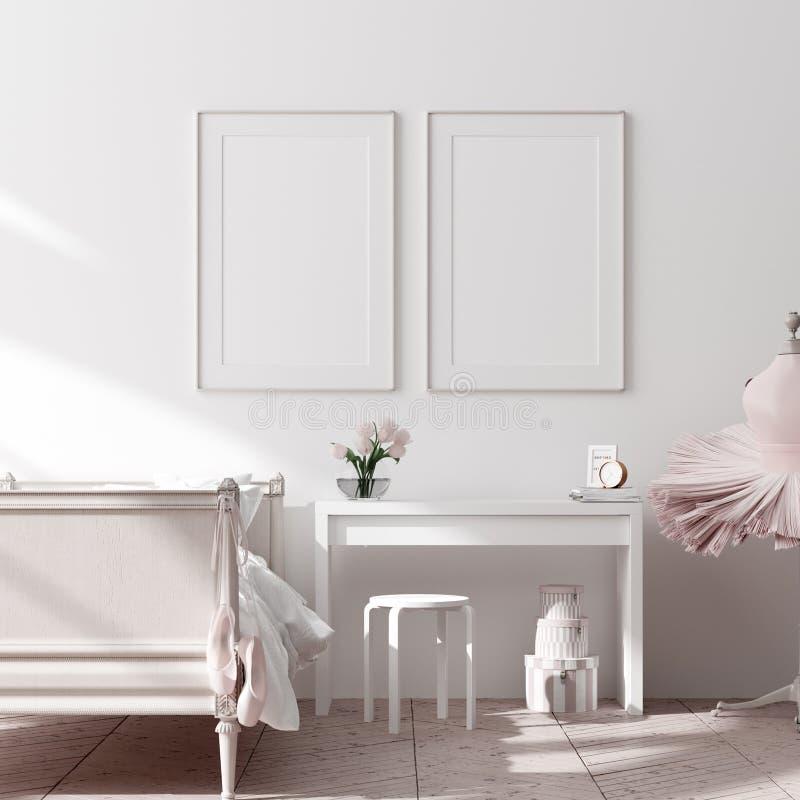Scheinbares hohes Plakat, Wand im Kinderschlafzimmer-Innenhintergrund, skandinavische Art lizenzfreie stockbilder