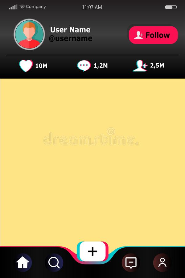 Scheinbares hohes Schablonenkonto Bewegliche Schablone der Website App Schnittstelle des Sozialen Netzes Social Media oncept Prof stock abbildung