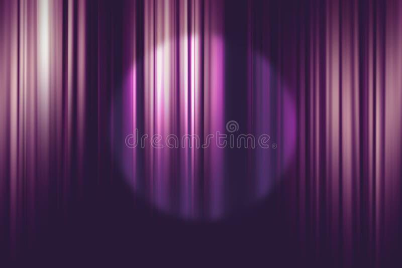 Scheinwerfer auf purpurrotem Kinovorhanghintergrund stockfoto
