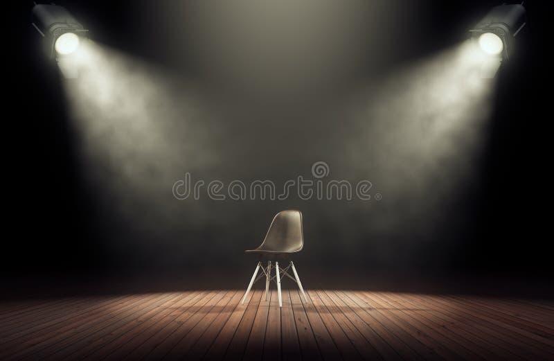 Scheinwerfer belichten leeres Stadium mit Stuhl im dunklen Hintergrund stock abbildung