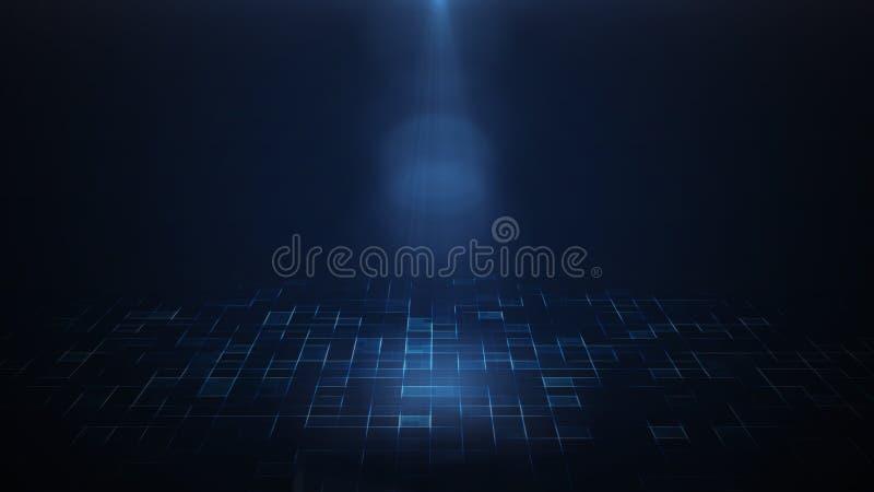 Scheinwerfer, der unten über dunklem Hintergrund und futuristischem Sci FI-Boden glänzt stock abbildung