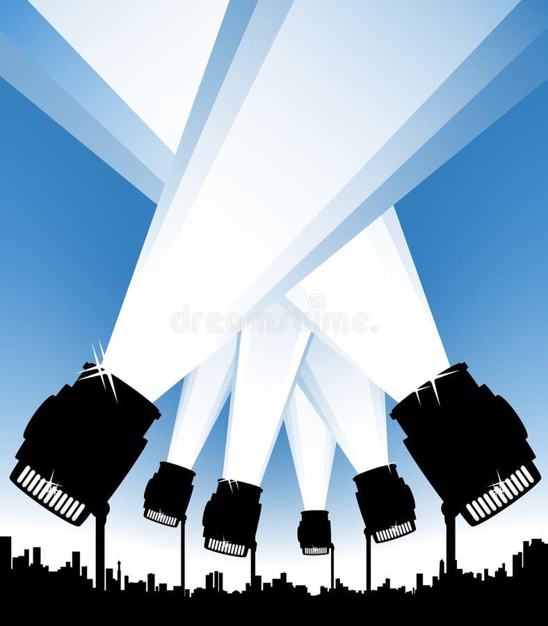 Scheinwerfer im städtischen Himmel lizenzfreie abbildung