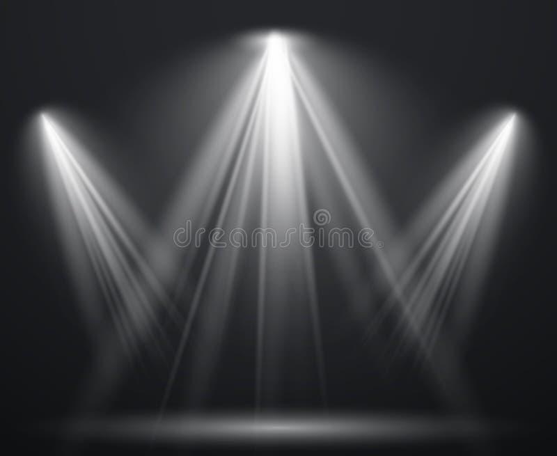 Scheinwerfer-Szene Lichteffektstellenprojektorstrahln-Studioglimmlampe strahlt glänzende helle beleuchtende Show, Szenenbeleuchtu stock abbildung