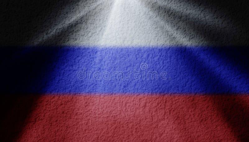 Scheinwerferlicht mit russischer Flagge lizenzfreie stockbilder