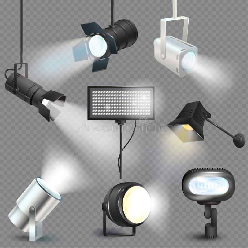 Scheinwerfervektorlicht-Showstudio mit Stellenlampen auf Theaterstadiums-Illustrationssatz des Projektorlichtfotografierens stock abbildung