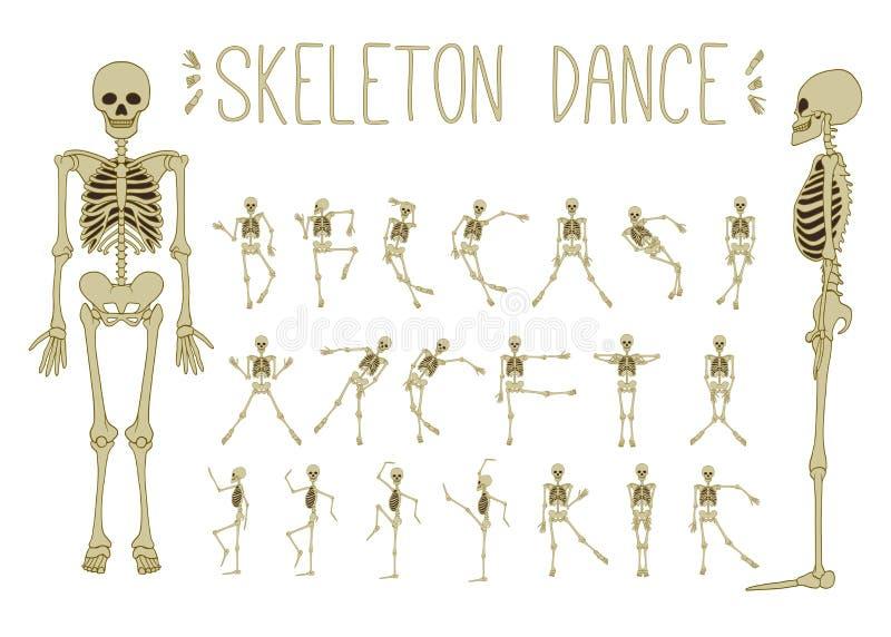 Scheletri di dancing messi illustrazione di stock