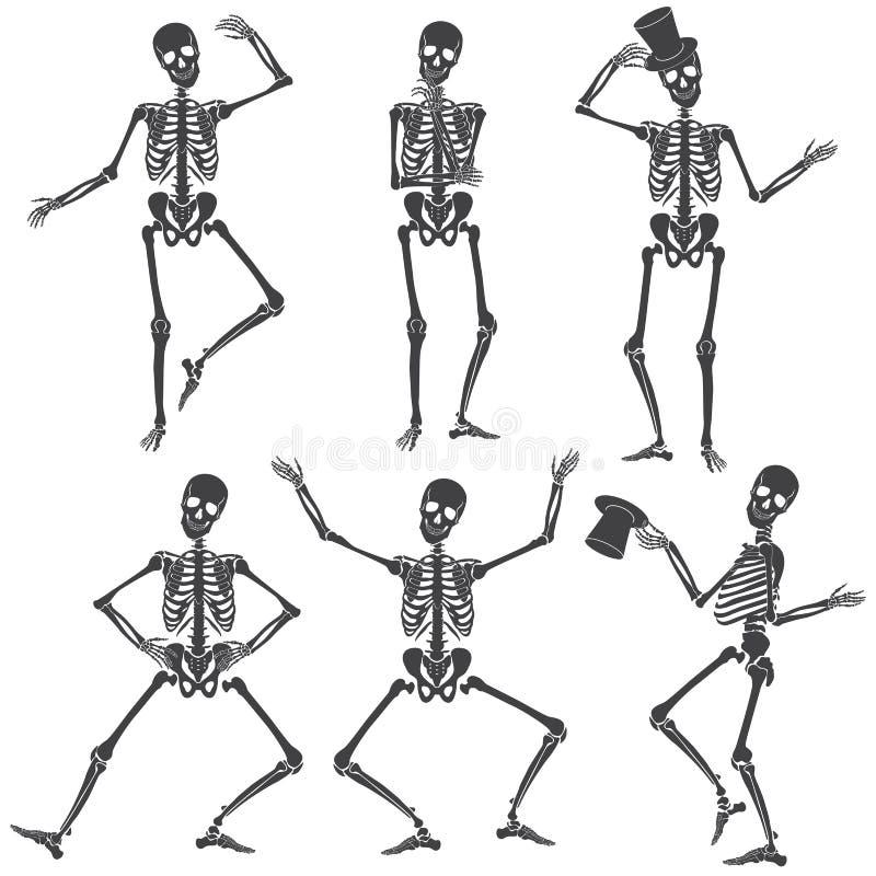 Scheletri di dancing Pose differenti dello scheletro isolate illustrazione di stock