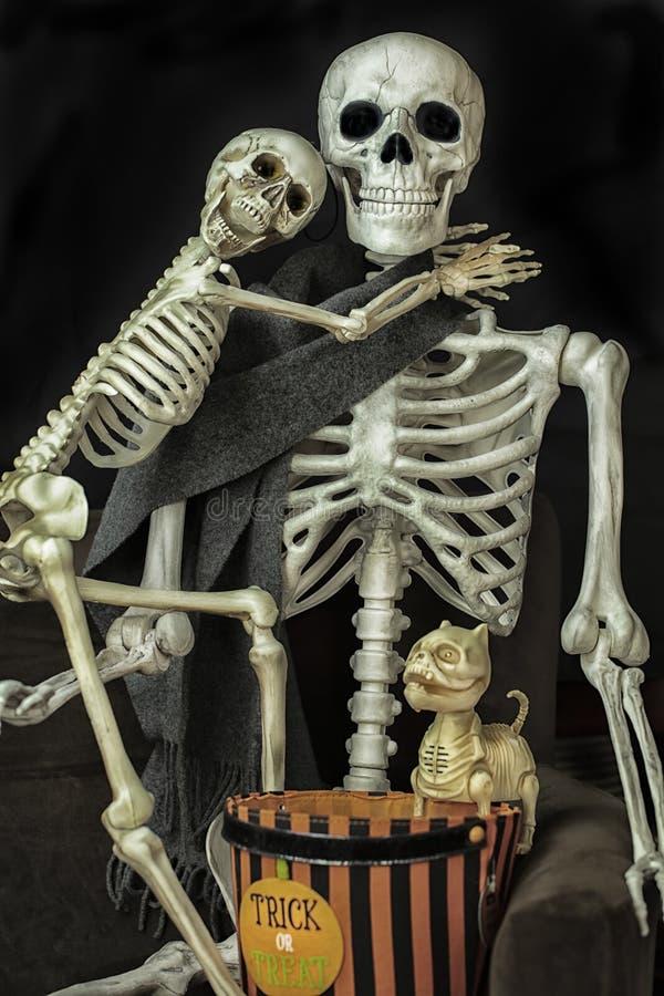Scheletri di Halloween che si preparano per andare trucco o trattare fotografie stock libere da diritti