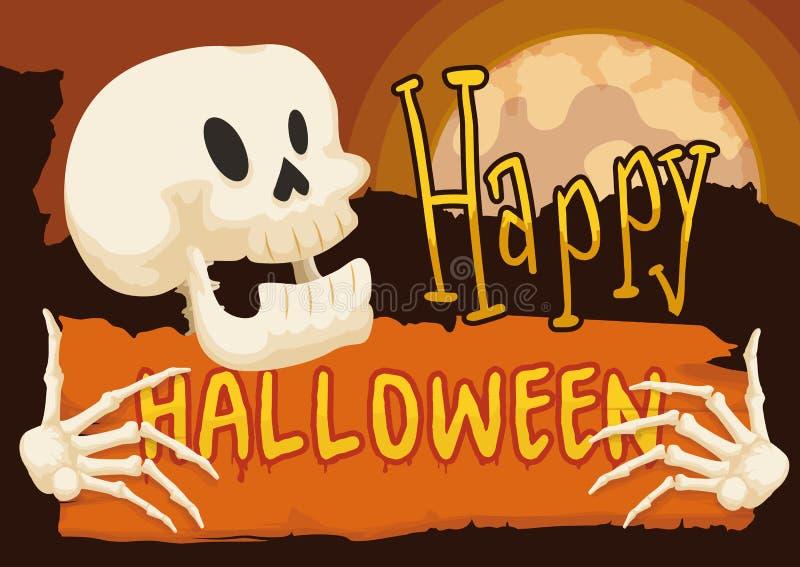 Scheletro che tiene un segno per Halloween nella notte della luna piena, illustrazione di vettore illustrazione vettoriale