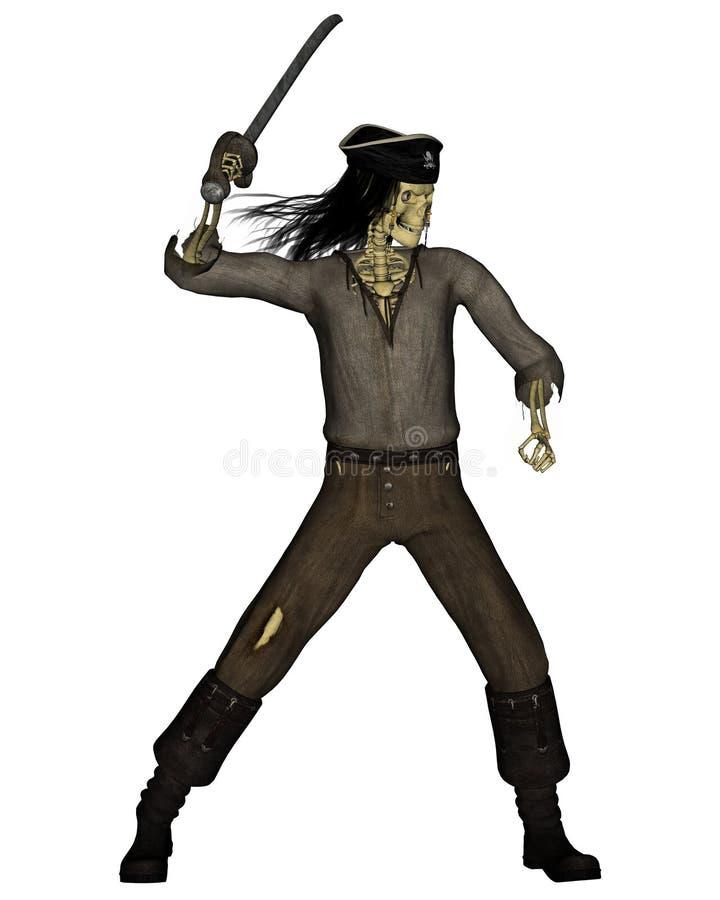 Scheletro del pirata dei Undead - 3 royalty illustrazione gratis