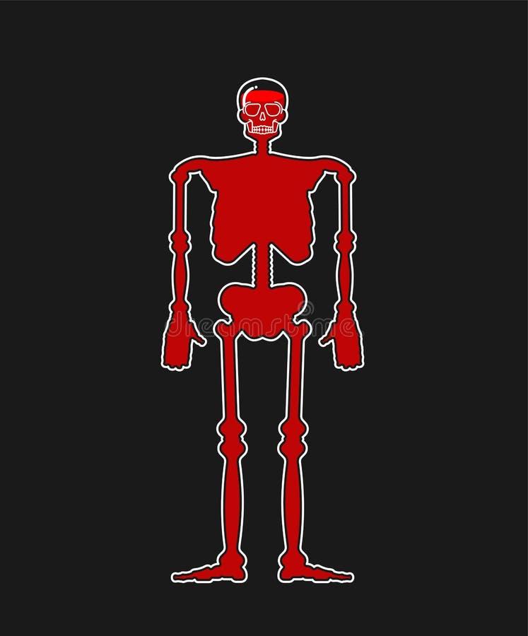 Scheletro e sangue di vetro trasparenti Bottiglia del corpo dentro liq rosso royalty illustrazione gratis