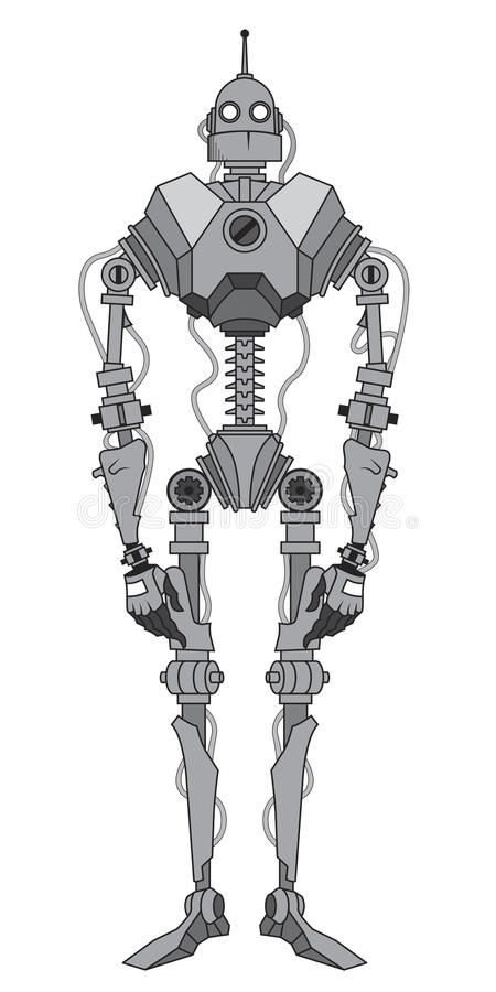 Scheletro grigio del robot con l'antenna royalty illustrazione gratis