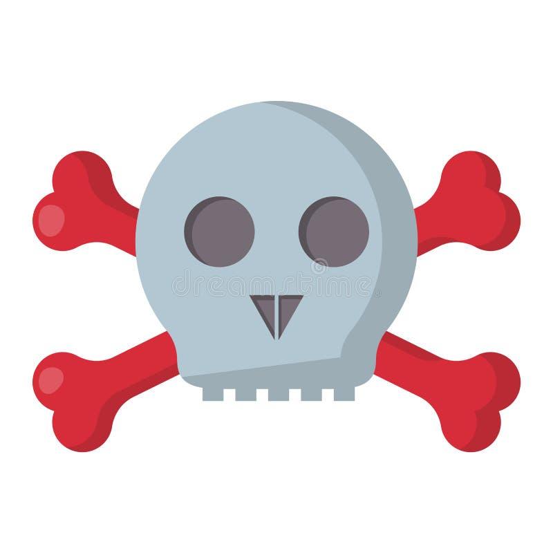 Scheletro morto del cranio del pericolo di lerciume di simbolo di vettore dell'illustrazione dell'osso di arte umana spaventosa d royalty illustrazione gratis