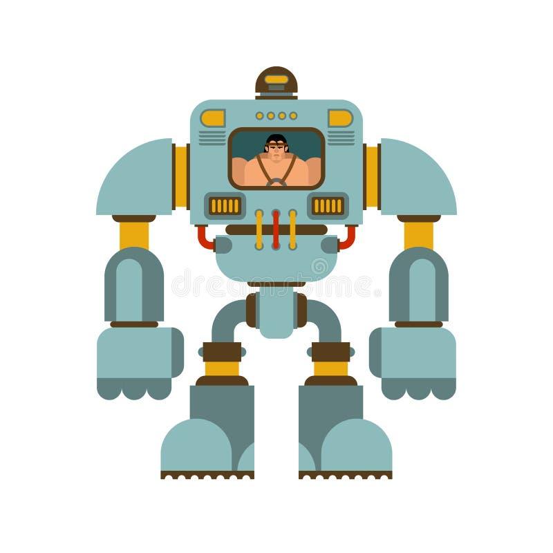 Scheletro robot di tecnologia meccanica dell'esoscheletro Robot del vestito del ferro Cyborg metallico dell'abbigliamento Illustr illustrazione vettoriale