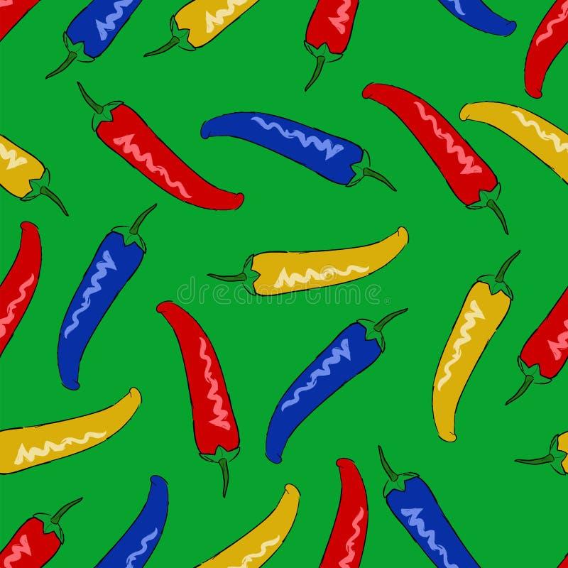 Schelle technicolorpeulen van het naadloze vectorpatroon van de Spaanse peperpeper royalty-vrije illustratie