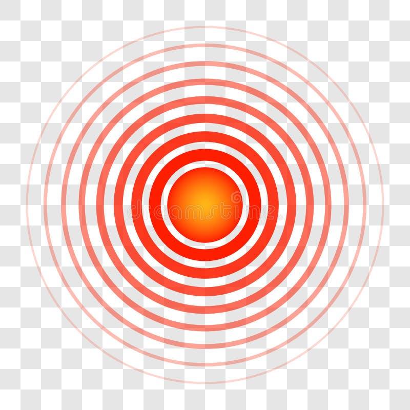 Schellen Sie Kreiszielfarbe des Bluts, das Zeichen eines Symbols der Schmerz, der lichtdurchlässige Ringvektor, der auf die Quell vektor abbildung