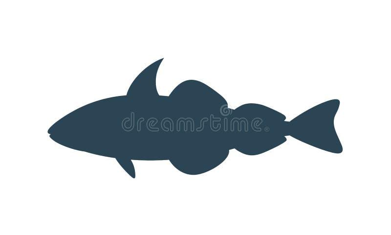 Schelvissensilhouet Geïsoleerde schelvissen op witte achtergrond vector illustratie