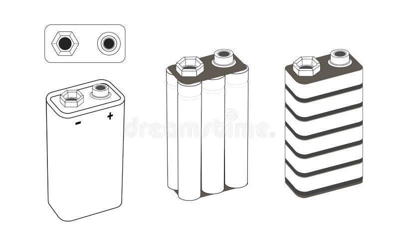 schema alcalino o della batteria al litio del nichel, da 9 volt Batteria dentro Illustrazione isolata di vettore illustrazione di stock