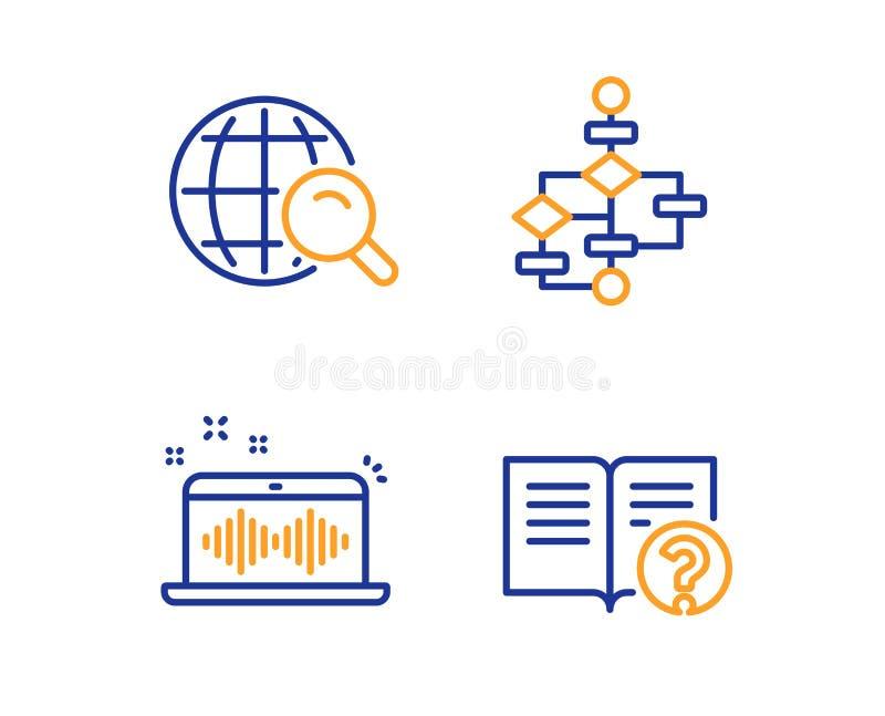 Schema a blocchi, fabbricazione di musica ed insieme delle icone di ricerca di Internet Segno di aiuto Percorso di algoritmo, app illustrazione di stock