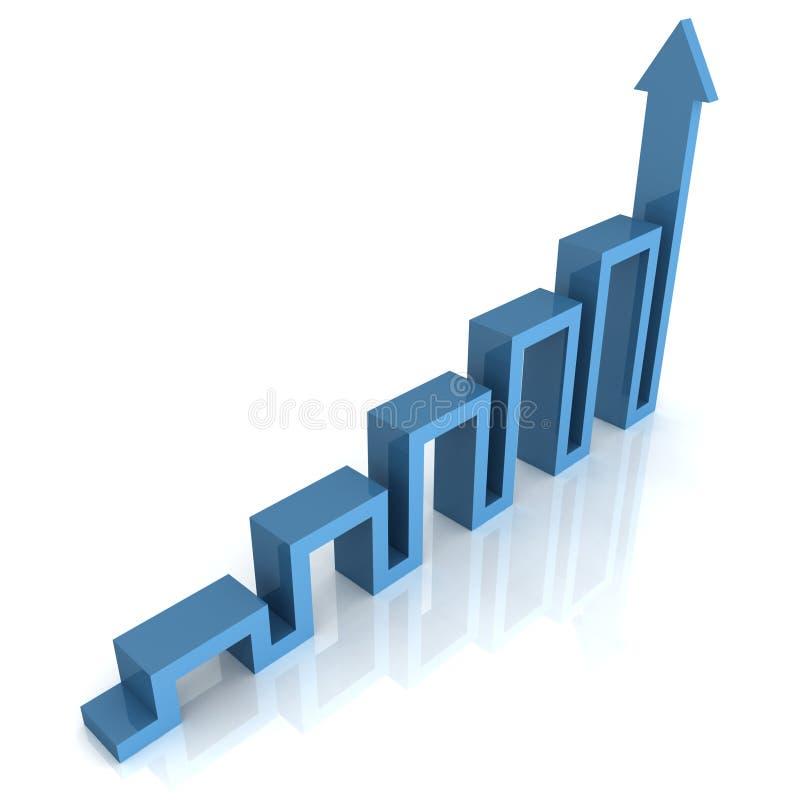 Schema blu del grafico della freccia di concetto con la riflessione royalty illustrazione gratis