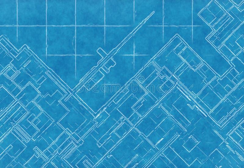 Schema blu del piano della città di vista superiore su carta millimetrata illustrazione vettoriale