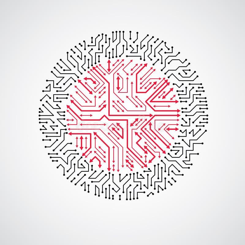 Schema cibernetico futuristico con le frecce orientabili, vecto illustrazione di stock