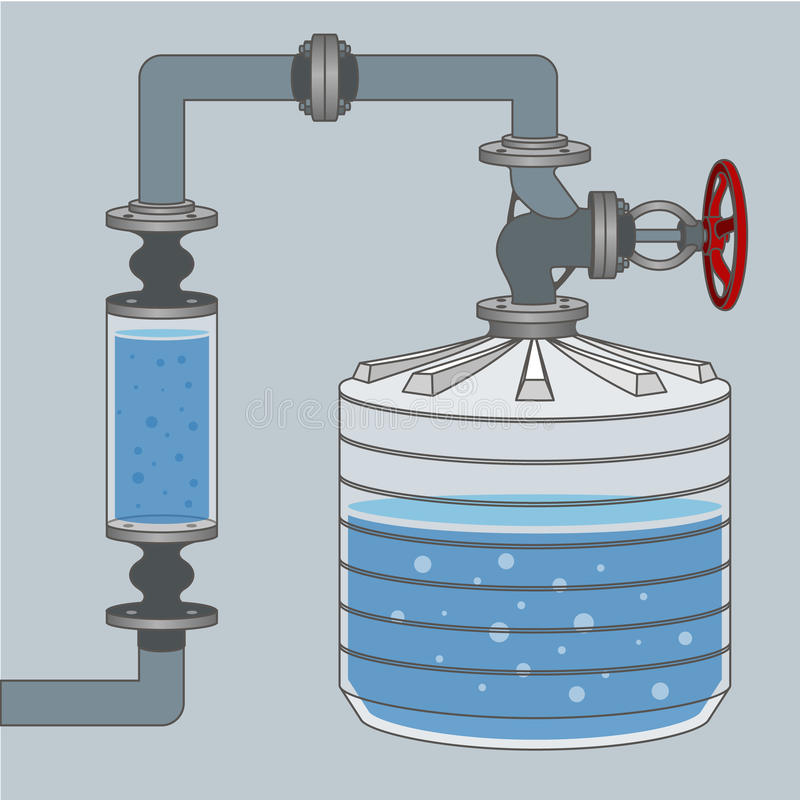 Schema con il serbatoio di acqua ed i tubi Vettore illustrazione vettoriale