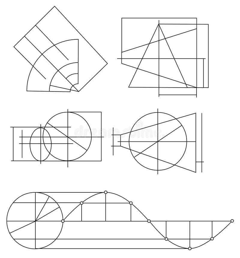 Schema degli oggetti geometrici illustrazione di stock