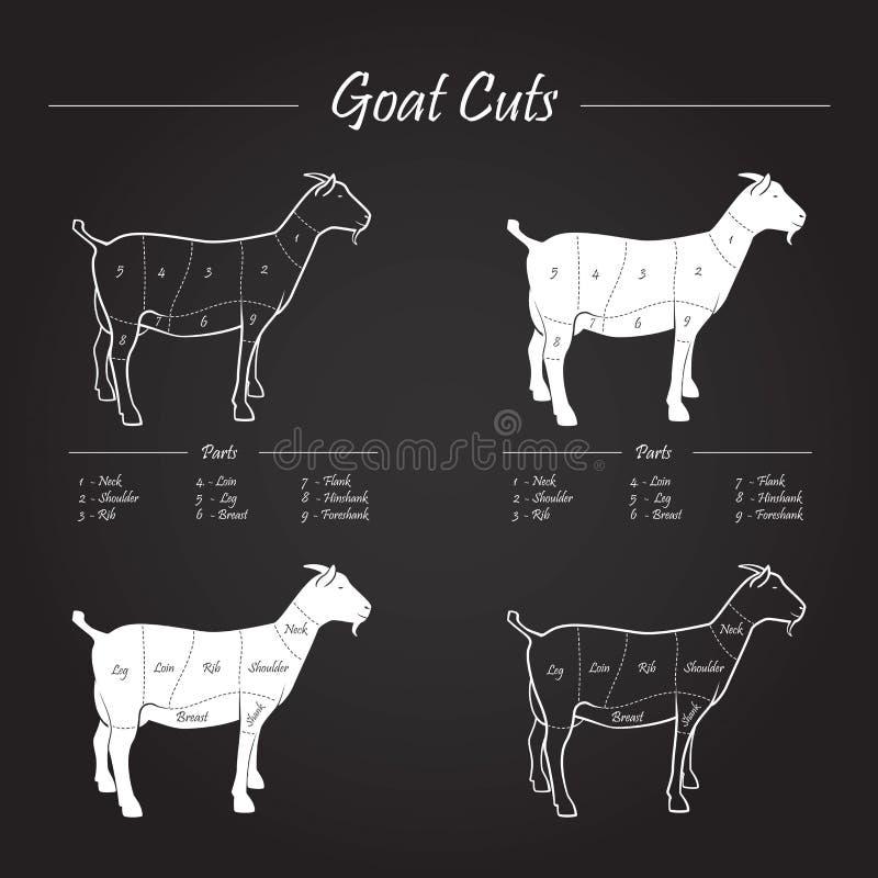 Schema dei tagli di carne della capra sulla lavagna illustrazione vettoriale