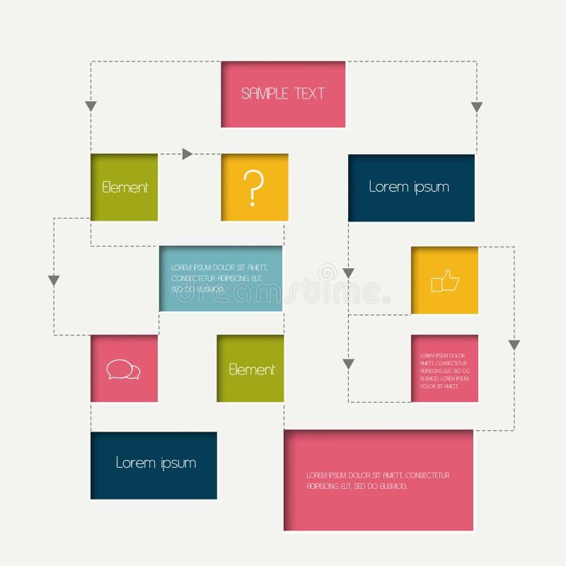 Schema del diagramma di flusso Elementi di Infographics illustrazione vettoriale
